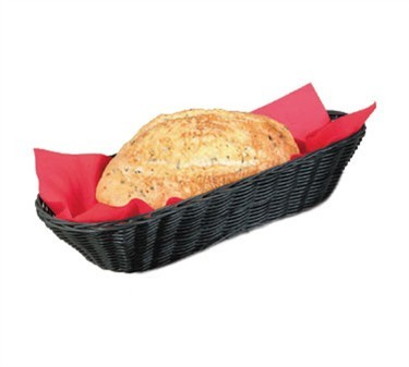 "TableCraft 2418 Black Handwoven Oblong Basket 15"" x 6"" x 3"""