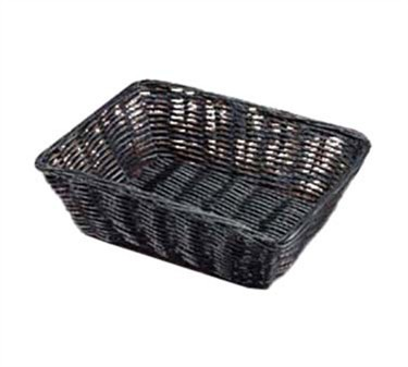 "TableCraft 2472 Black Handwoven Rectangular Basket 9"" x 6"" x 2-1/2"""