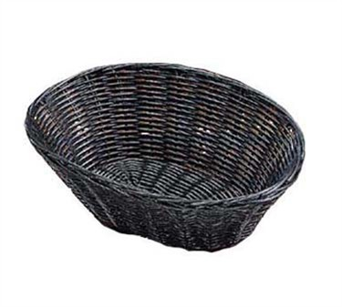 "TableCraft 2476 Black Handwoven Oval Basket 10"" x 6-1/2"" x 3"""