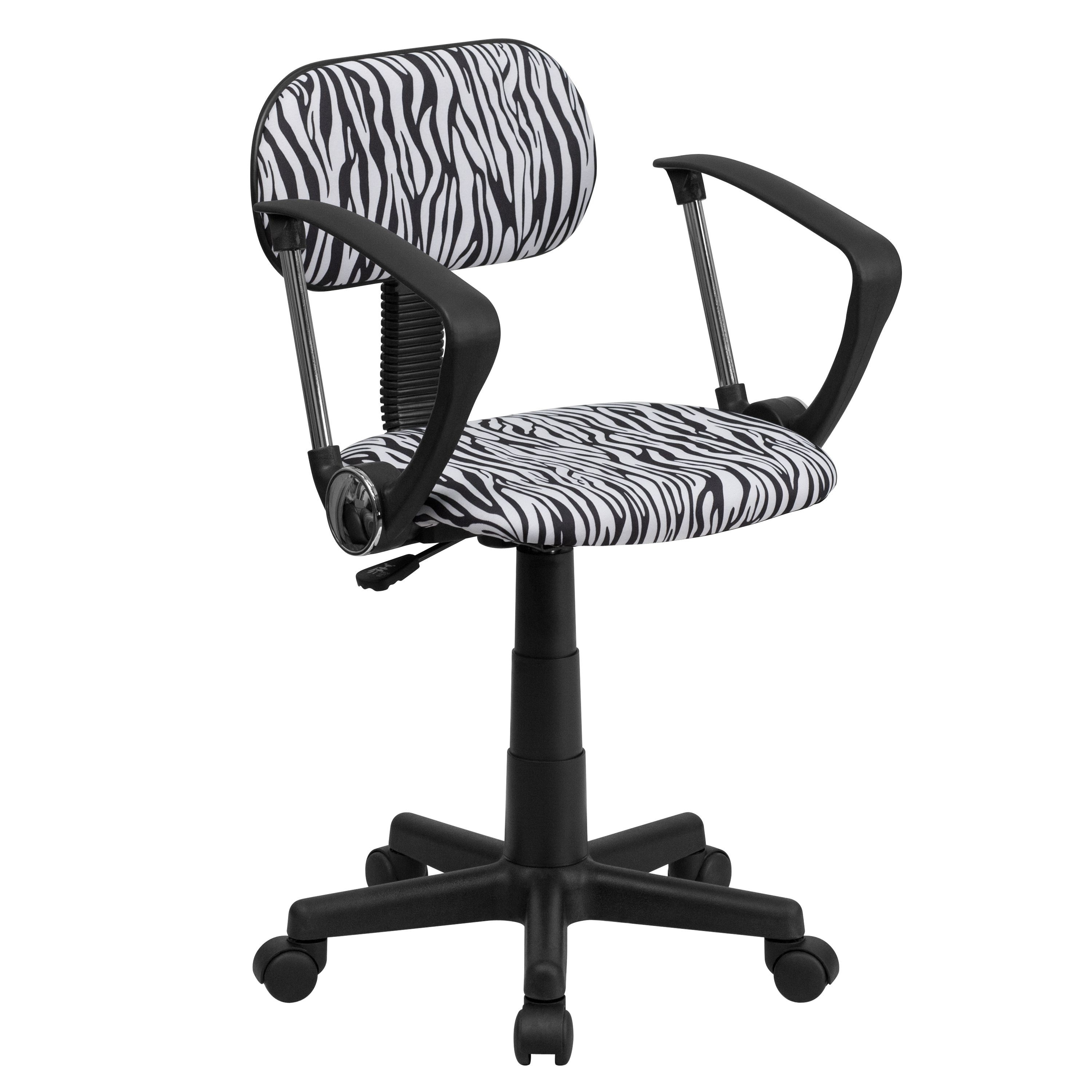 Flash Furniture BT-Z-BK-A-GG Black and White Zebra Print Computer Chair with Arms