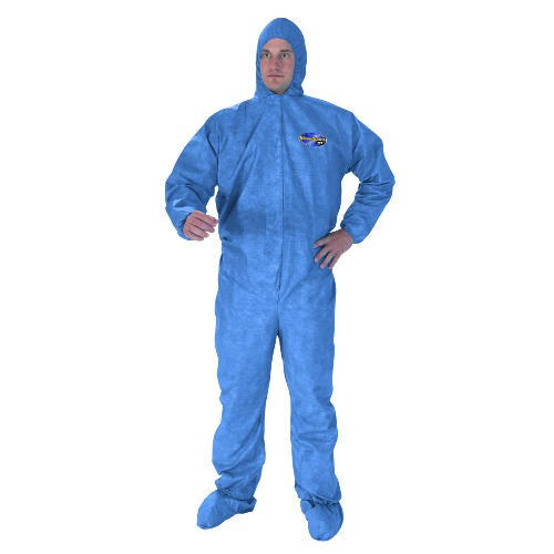 Bloodborne Pathogen & Chemical Splash Protection Apparel, X-Large, Front Zip, Storm Flap, Elastic Wrists and Ankles, Hood and Boot, Denim Blue, 16 x 12 x 17.125