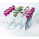 Rosseto BTC616 Clear Acrylic Blossom Cup and Stem Tray, Holds 16 Blossom and Stem Cups