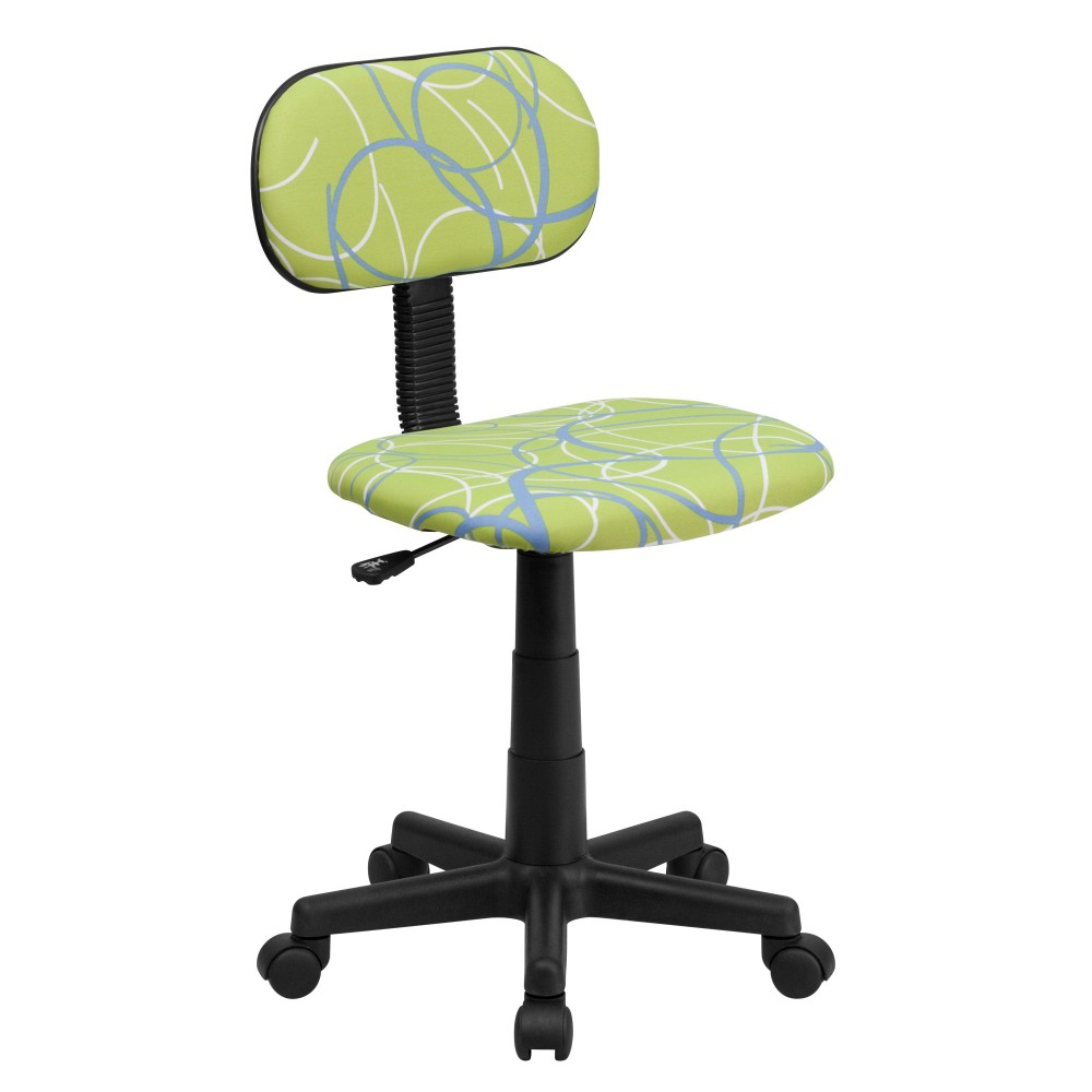 Blue & White Swirl Printed Green Computer Chair