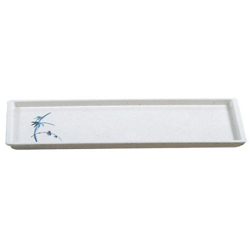 "Thunder Group 0900BB Blue Bamboo Rectangular Melamine Tray 13-1/2"" x 4-3/4"""