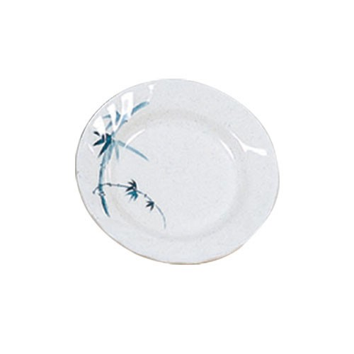 Blue Bamboo Round Curved Rim Melamine Plate - 6