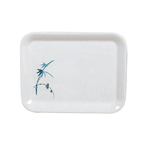 "Thunder Group 0901BB Blue Bamboo Square Melamine Tray 13-1/8"" x 10-1/4"""