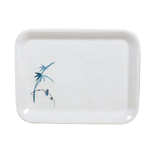 "Thunder Group 0902BB Blue Bamboo Square Melamine Tray 15-1/4"" x 11-1/2"""