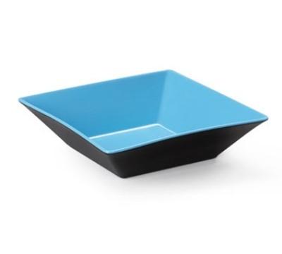 """G.E.T. Enterprises ML-247-BL/BK Brasilia Blue/Black Melamine 2.5 Qt. Square Bowl 10"""""""
