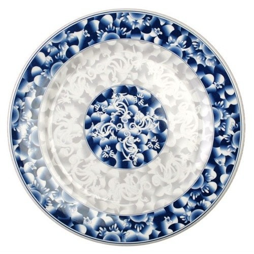 Thunder Group 1014DL Blue Dragon Melamine Round Plate 14-1/8""
