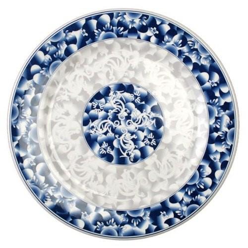 Blue Dragon Melamine Round Plate - 14-1/8