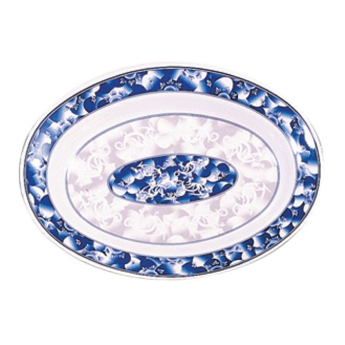"Thunder Group 2112DL Blue Dragon Oval Melamine Deep Platter, 12"" x 9"""
