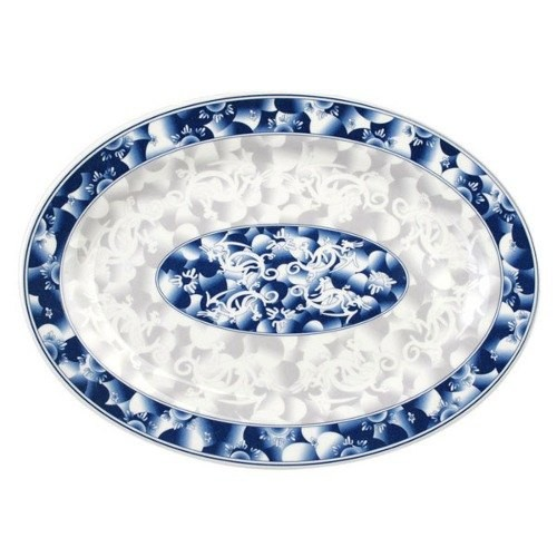 "Thunder Group 2014DL Blue Dragon Oval Melamine Platter, 14"" x 10"""