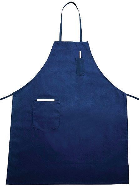 Winco BA-PBL Blue Full Length Bib Apron with Pocket