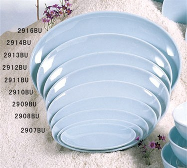 "Thunder Group 2907 Blue Jade Melamine Oval Plate 7-1/8"" x 5"""