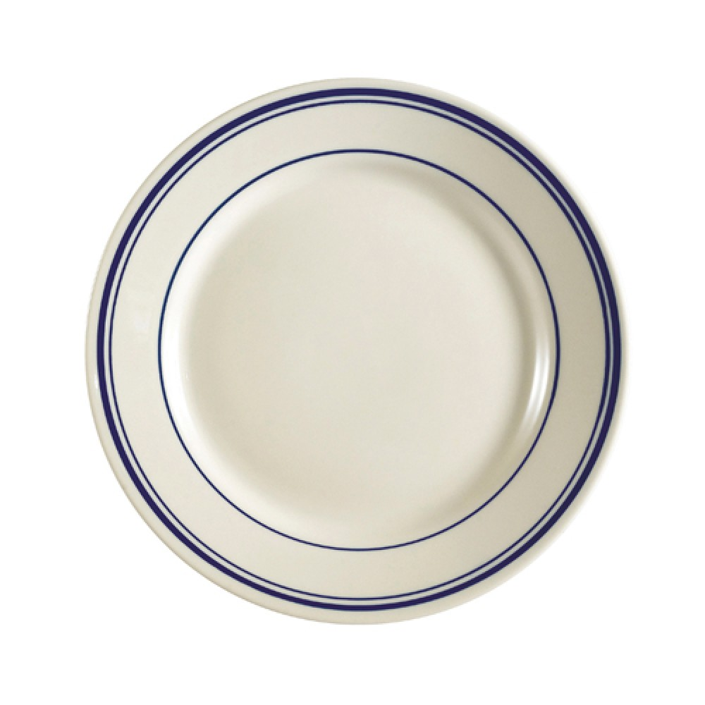 CAC China BLU-7 Blue Line Rolled Edge Appetizer / Salad Plate 7 1/8""