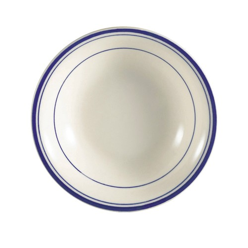 CAC China BLU-11 Blue Line Rolled Edge Fruit Bowl 5 oz.