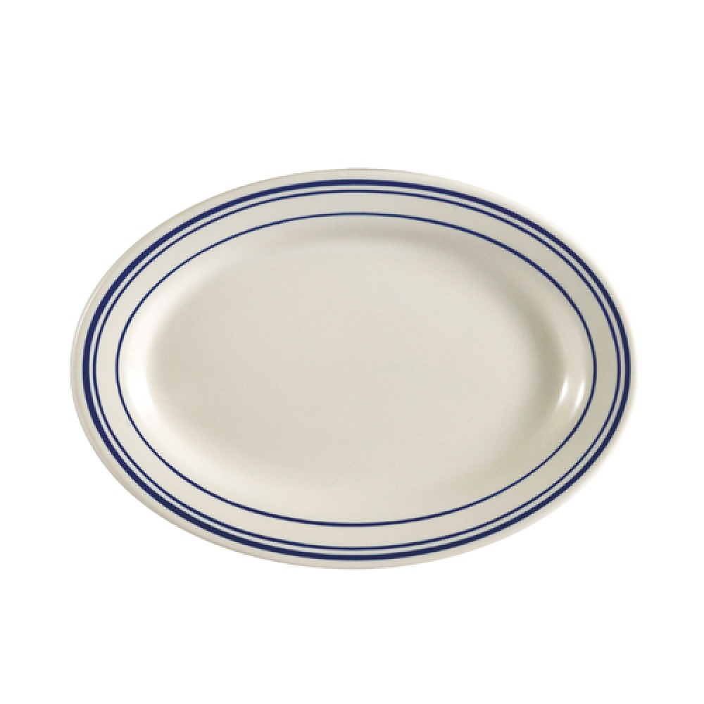 CAC China BLU-51 Blue Line Oval Platter, 15 1/2""