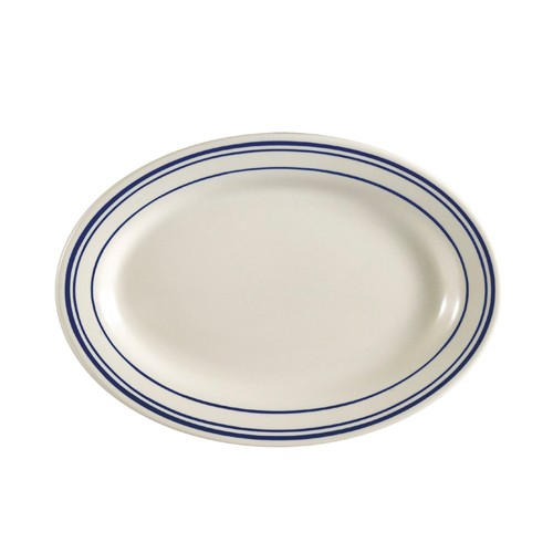 CAC China BLU-12 Blue Line Rolled Edge Oval Platter, 10 3/8""