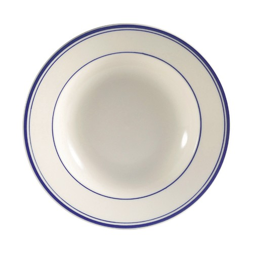 CAC China BLU-3 Blue Line Rolled Edge Rim Soup Bowl 10 oz.