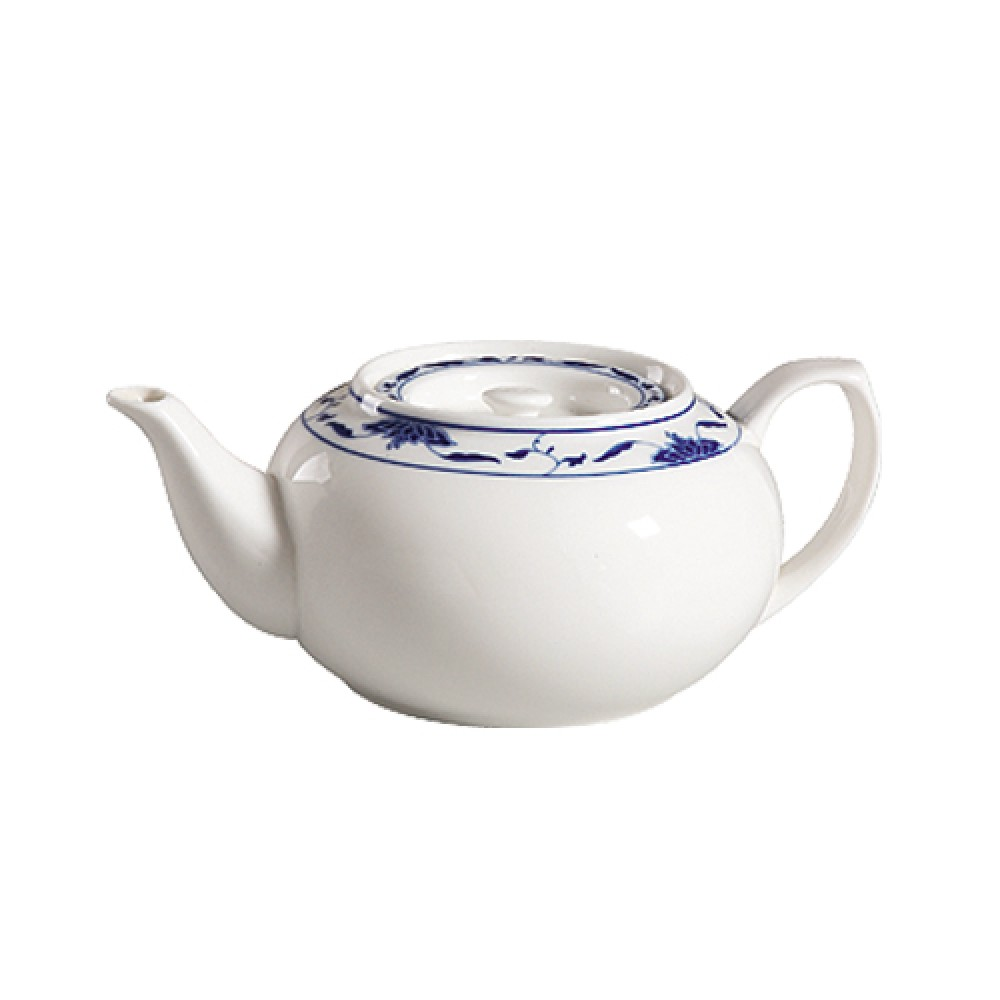 CAC China 103-TPW-2 Blue Lotus 32 oz. Tea Pot