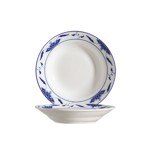 "CAC China 103-38 Blue Lotus 8"" Rim Soup Plate8 oz."