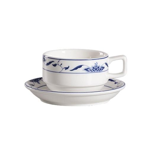 CAC China 103-1-S Blue Lotus 8 oz. Stacking Cup