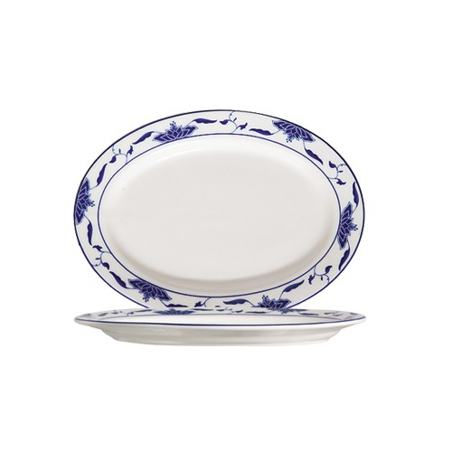 CAC China 103-14 Blue Lotus Oval Platter, 12-1/4""