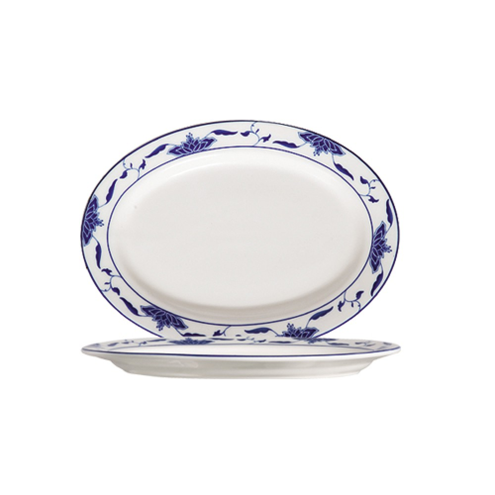 CAC China 103-34 Blue Lotus Oval Platter, 9-1/4""