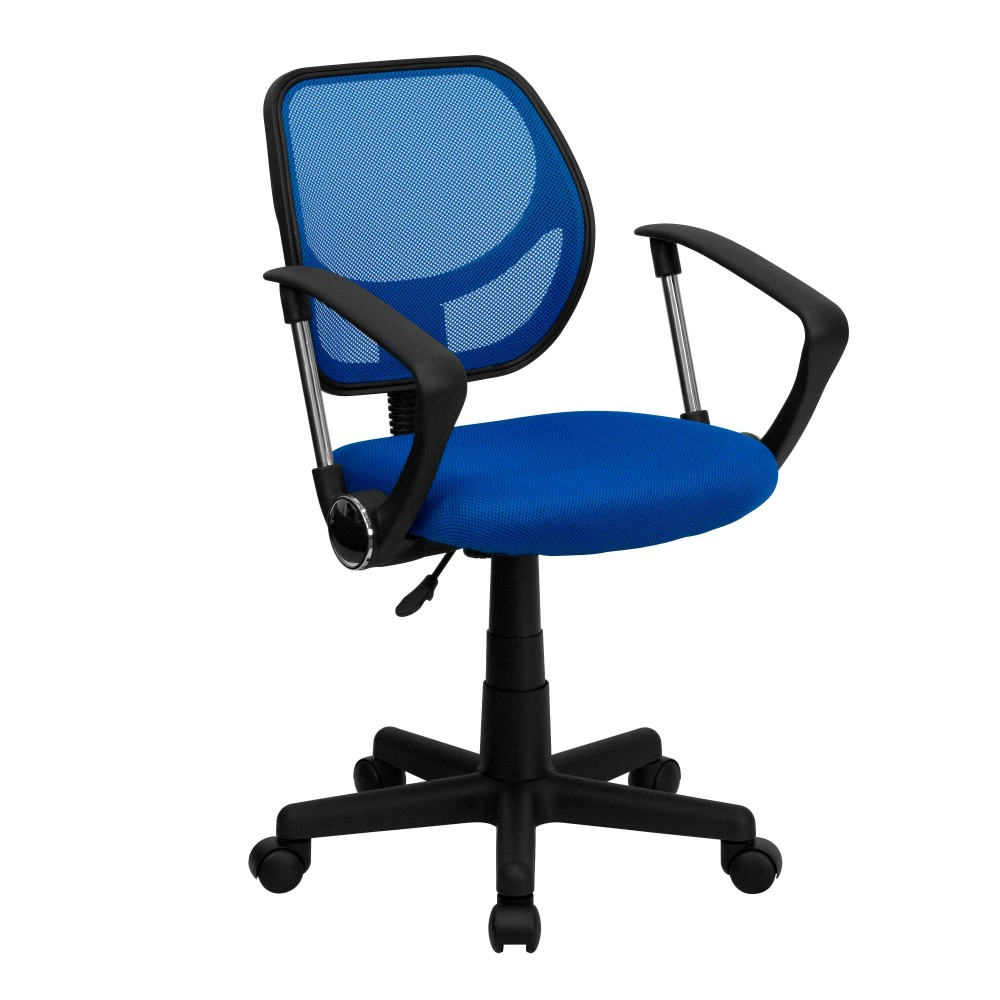 Blue Mesh Computer Chair with Arms