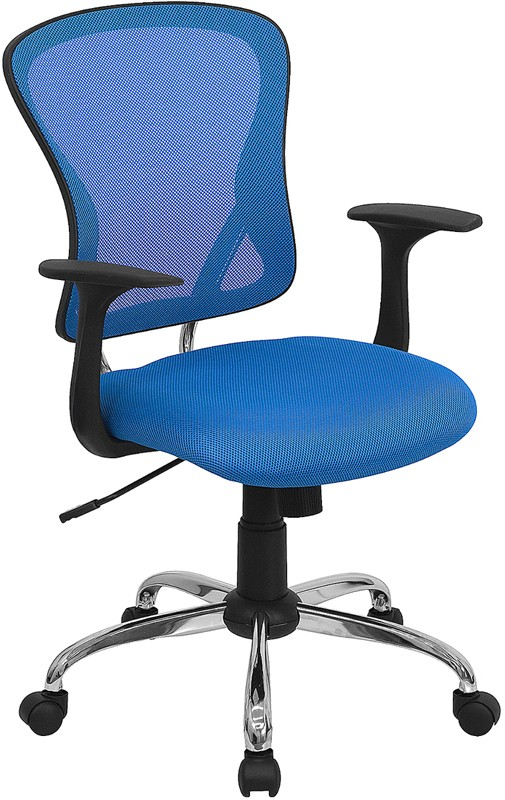Flash Furniture H-8369F-BL-GG Mid-Back Blue Mesh Executive Office Chair with Chrome Base and Arms