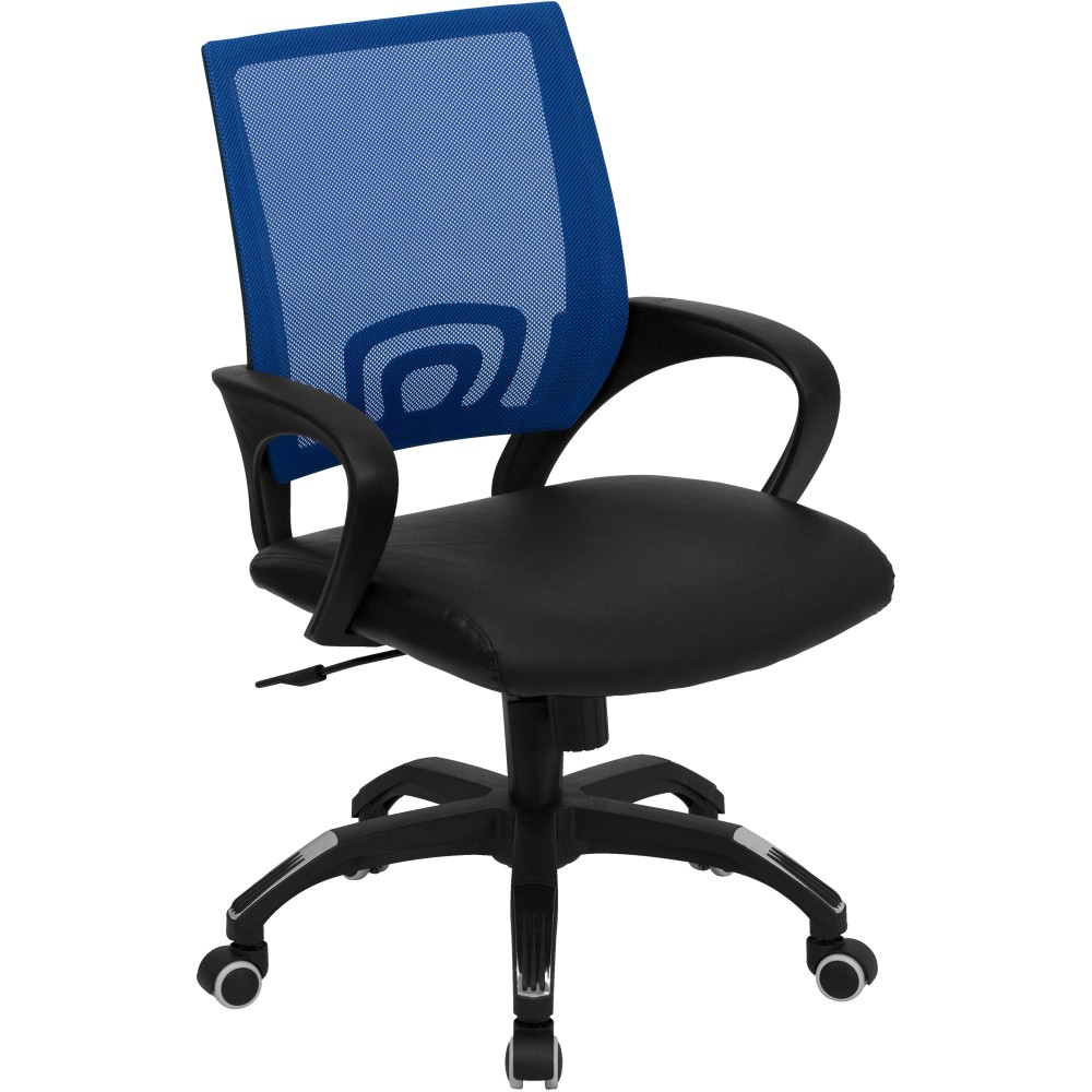 Blue Mesh Office Chair with Black Leather Seat