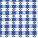 "Winco TBCO-70B Blue Checkered Oblong Vinyl Table Cloth 52"" x 70"""