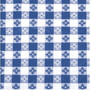 "Winco TBCO-70B Blue Checkered Oblong Vinyl Table Cloth 52"" x 70"""