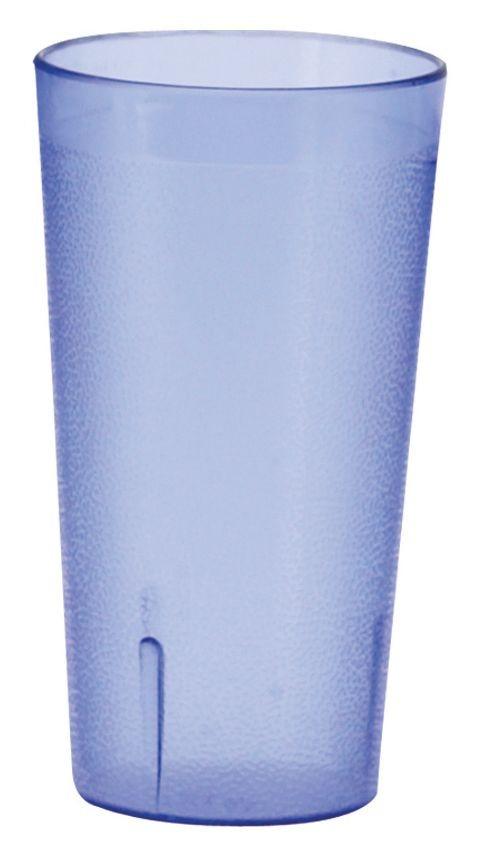 Winco PTP-12B Pebbled 12 oz. Blue Plastic Tumbler