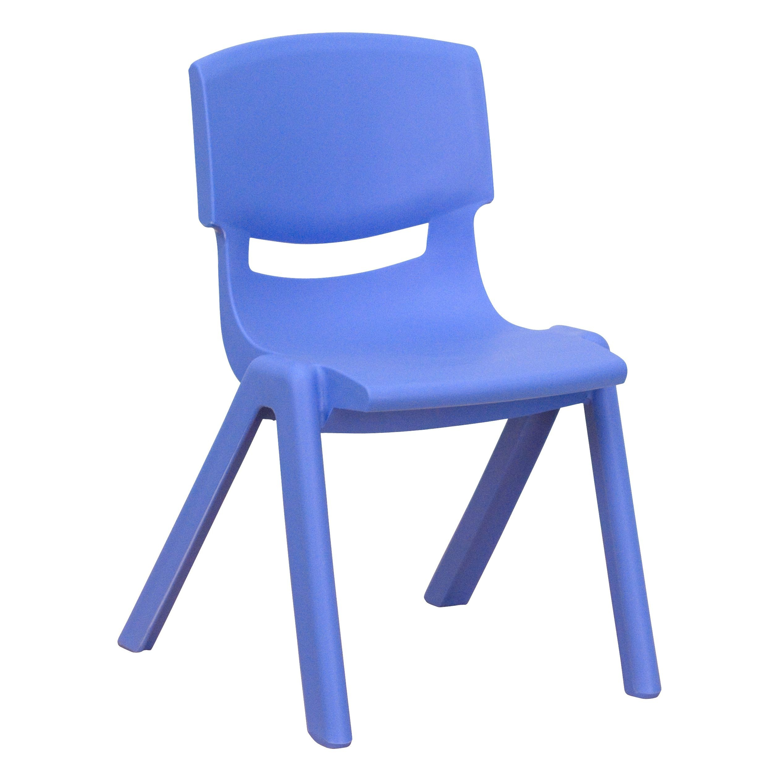 "Flash Furniture YU-YCX-001-BLUE-GG Blue Plastic Stackable School Chair with 12"" Seat Height"