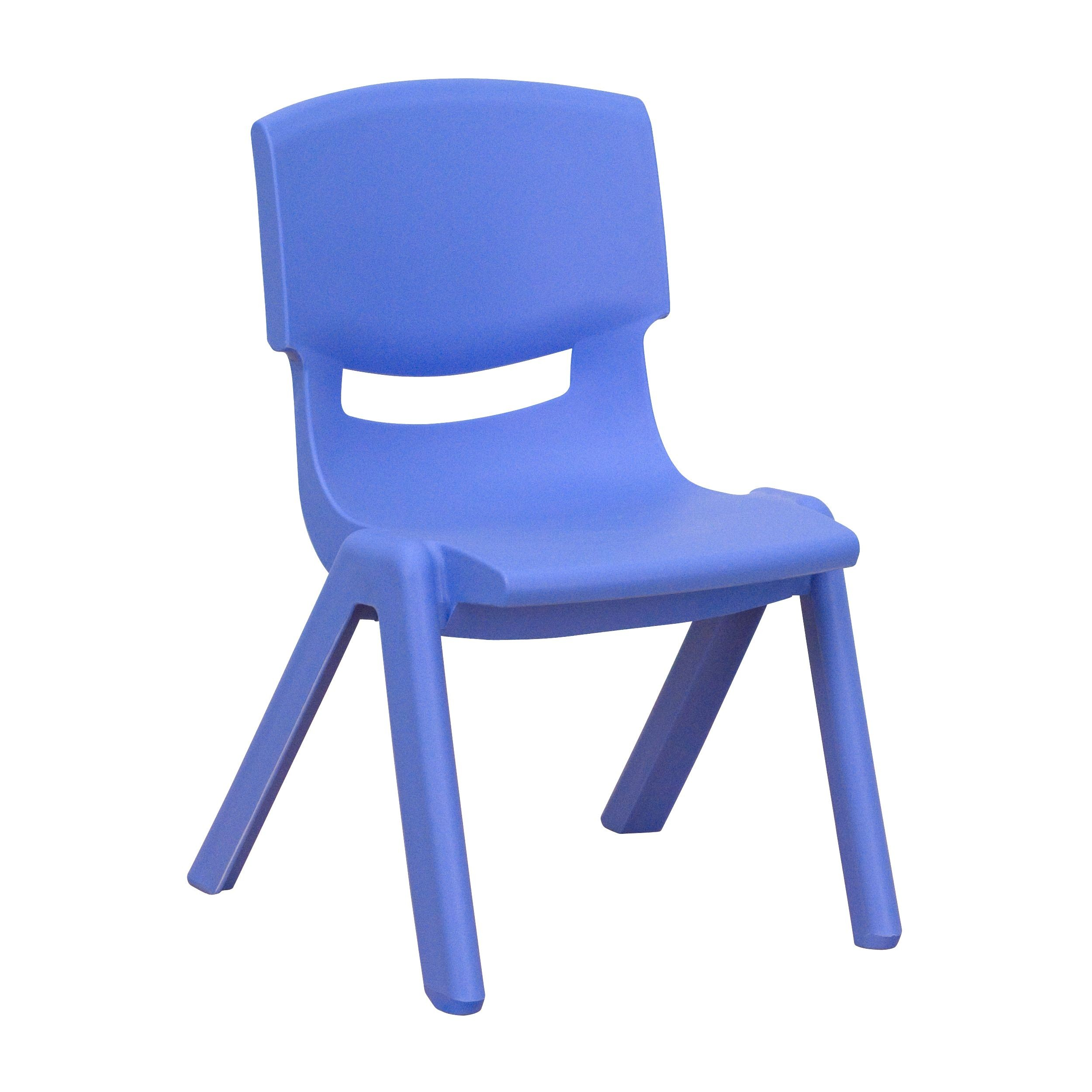 "Flash Furniture YU-YCX-003-BLUE-GG Blue Plastic Stackable School Chair with 10.5"" Seat Height"