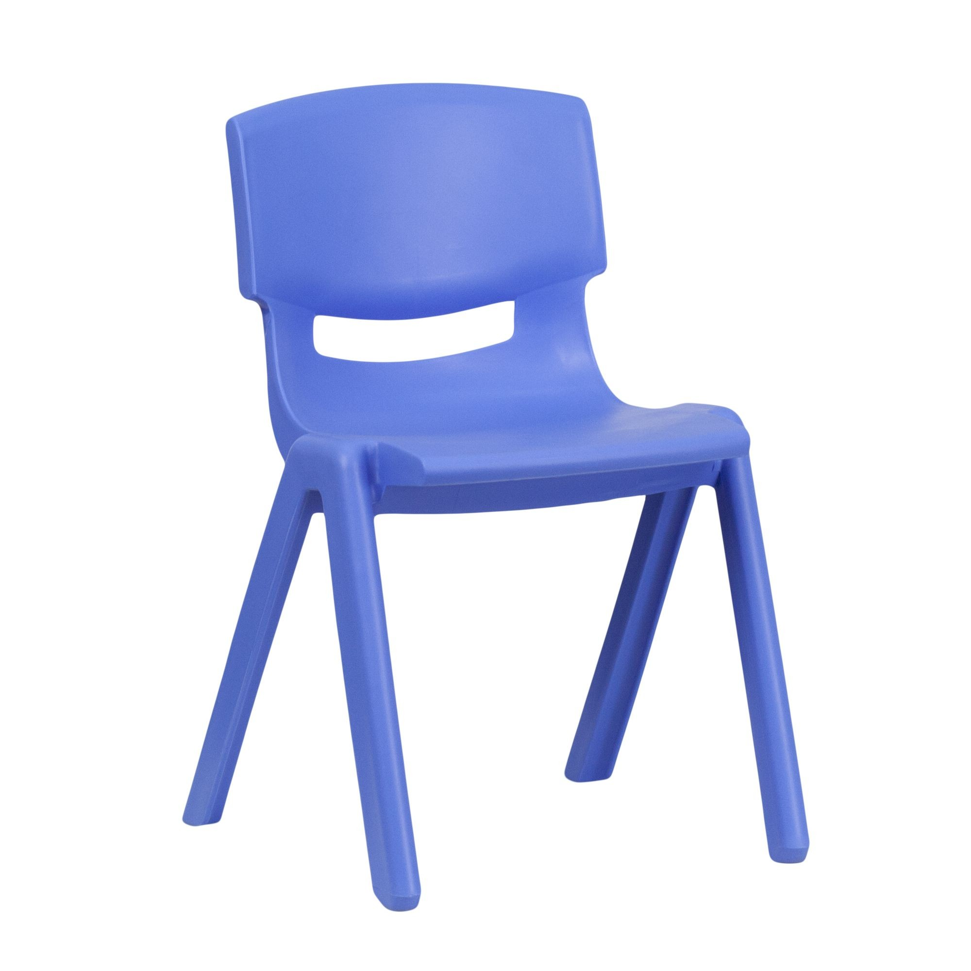"Flash Furniture YU-YCX-004-BLUE-GG Blue Plastic Stackable School Chair with 13.25"" Seat Height"