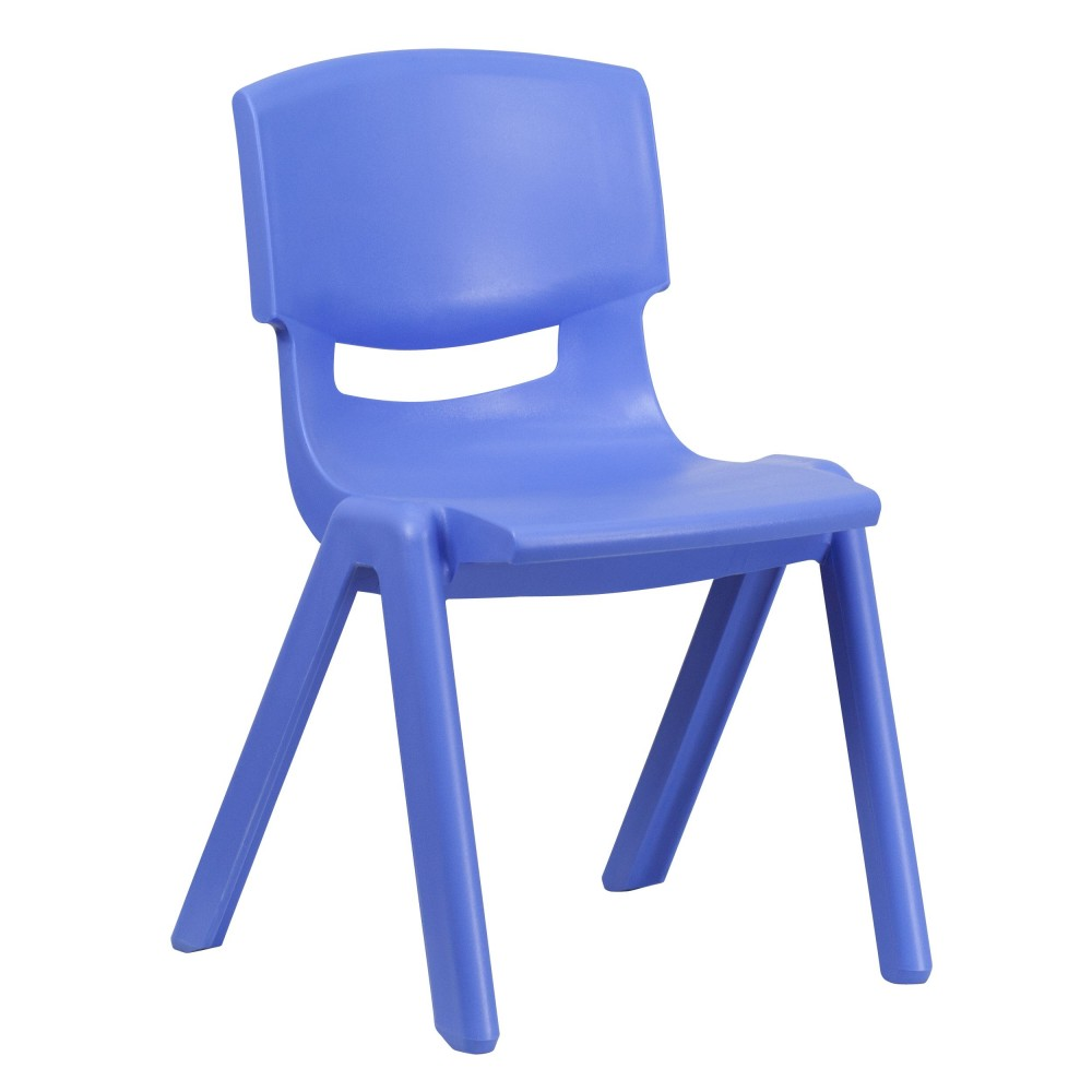 Flash Furniture YU-YCX-005-BLUE-GG Blue Plastic Stackable School Chair with 15.5'' Seat Height