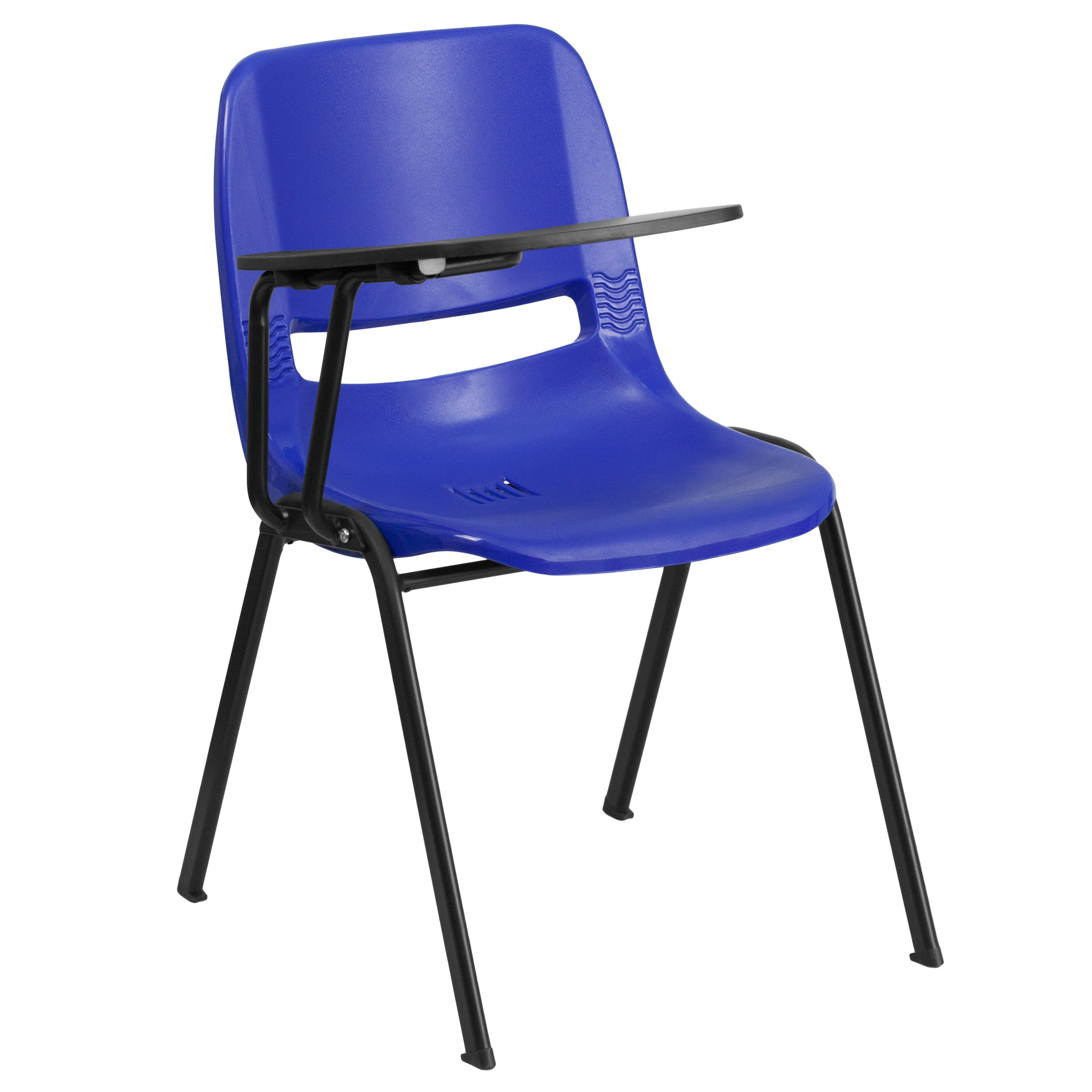 Flash Furniture RUT-EO1-BL-RTAB-GG Blue Ergonomic Shell Chair with Right Handed Flip-Up Tablet Arm