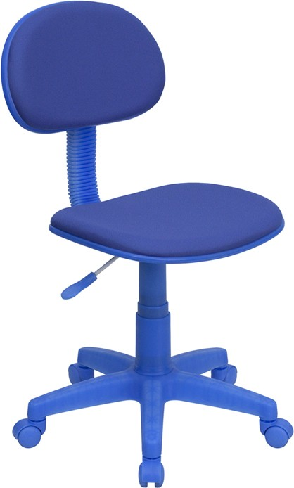 Blue Task Chair with blue casters, wheels and stem