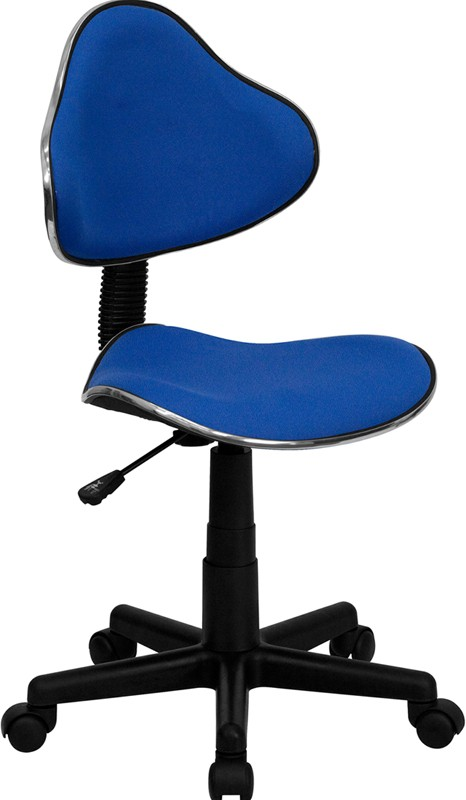 Blue Task Chair- with black caster wheels and stem