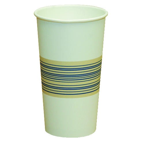 Boardwalk Boardwalk 12 Oz Tall Paper Hot Cups White W/Blue & Yellow Midband (Box of 1000)