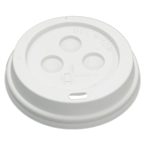 Boardwalk Plastic Dome Lid For 10-20 Oz Hot Cups - White (Box of 1000)