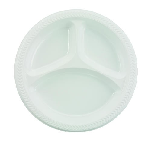 Boardwalk Plastic Plates, 10 Inches, White, Round, 3 Compartments, 125/Pack (Box of 500)