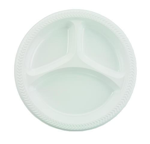 Boardwalk Plastic Plates 10 Inches White Round 3 Compartments 125/  sc 1 st  LionsDeal & Boardwalk Plastic Plates 10 Inches White Round 3 Compartments ...