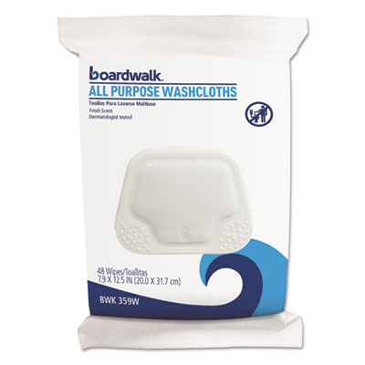 Boardwalk Premoistened Personal Washcloths, Fresh Scent, 48 Cloths