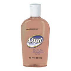 Body & Hair Shampoo, Peach Scent, Clear Amber, 7.5 oz Flip Cap Décor Bottle