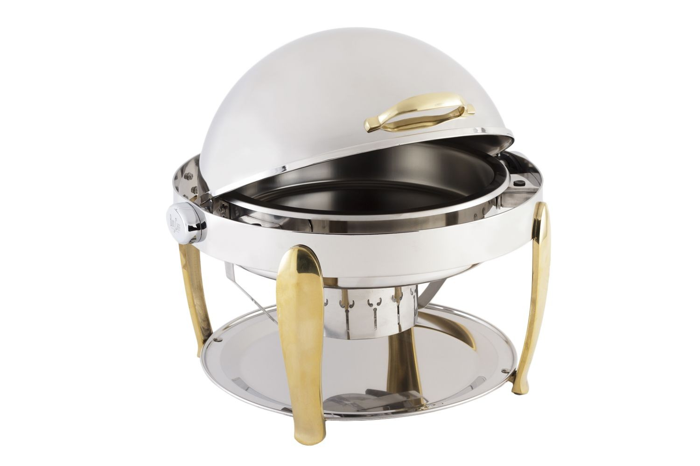Bon Chef 10001 Manhattan Round Roll Top Chafer with Brass Accents 8 Qt.