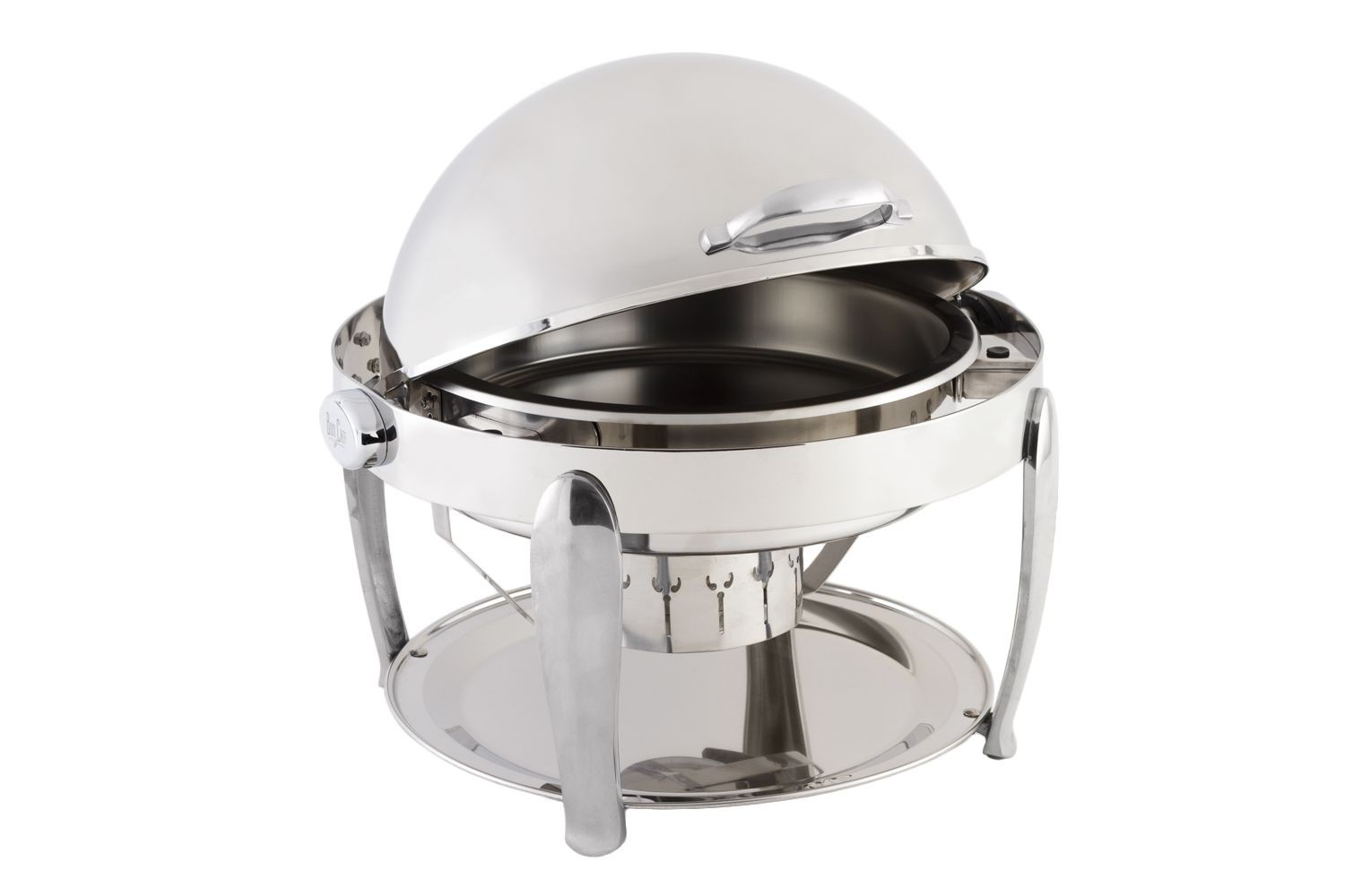 Bon Chef 10001CH Manhattan Round Roll Top Chafer with Vented Lid and Chrome Accents 8 Qt..