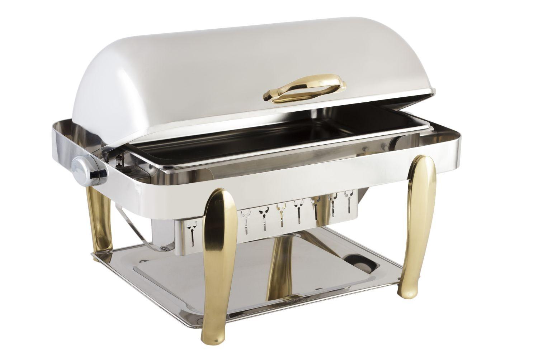 Bon Chef 10040 Manhattan Rectangular Roll Top Chafer with Brass Accents 8 Qt..